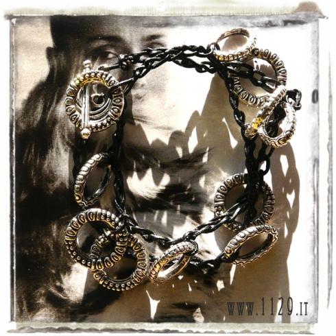 bracciale pelle nero doppio charm cerchi tibet rings charms bracelet 1129