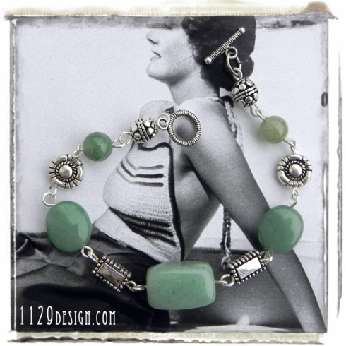 bracciale argento avventurina verde green aventurine silver bracelet 1129