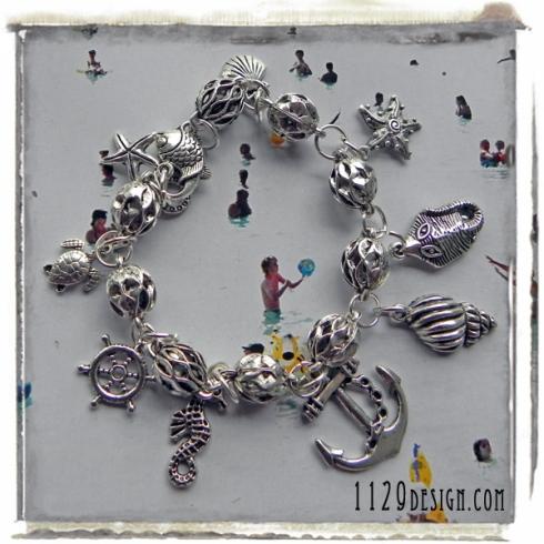 bracciale argento mare pesci estate nautica fish turtle star silver bracelet 1129