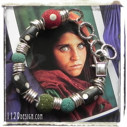 bracciale etnico semi rigido perle kashmir handmade ethno bracelet kashmiri 1129design