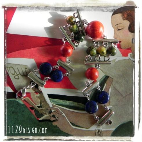 bracciale pietre dure corallo lapislazzulo silver gemstones bracelet 1129