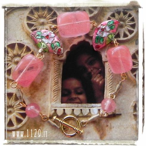bracciale-oro quarzo-rosa-cloisonne