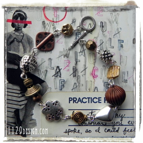 bracciale-funky-mix-argento-bronzo-rame-silver-bronze-copper-bracelet