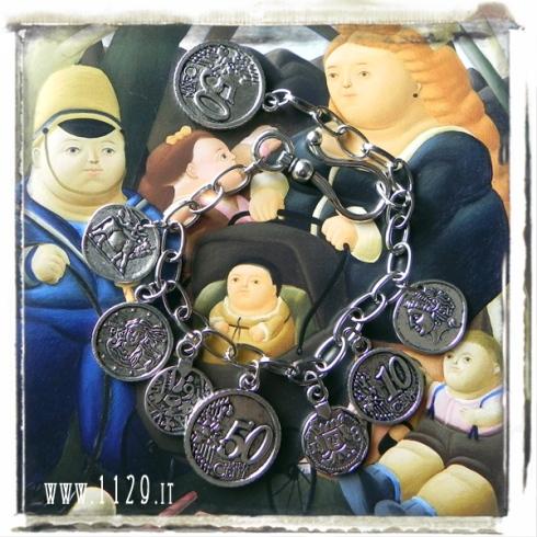 bracciale argento tibetano monete ciondoli coin charms silver bracelet 1129