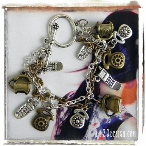 braccialetto-doppio-argento-bronzo-ciondoli-telefono-vintage-double-chain-old-style-fashion-telephone-handmade-bracelet-1129design