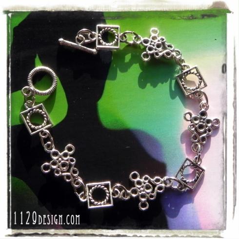 bracciale handmade catena argento tibetano
